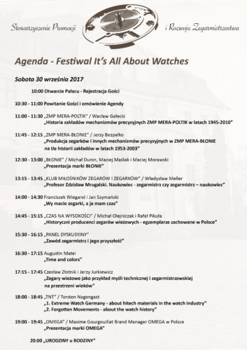 """Festiwal zegarów i zegarków """"It's all about watches"""" - Agenda 30.09 - 01.10.2017r."""